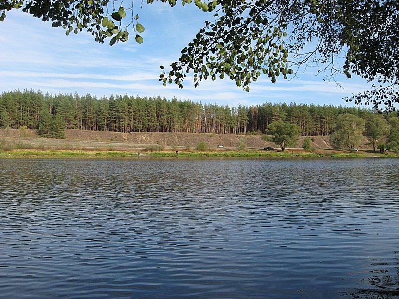 На другой стороне озера ловят спиннингисты