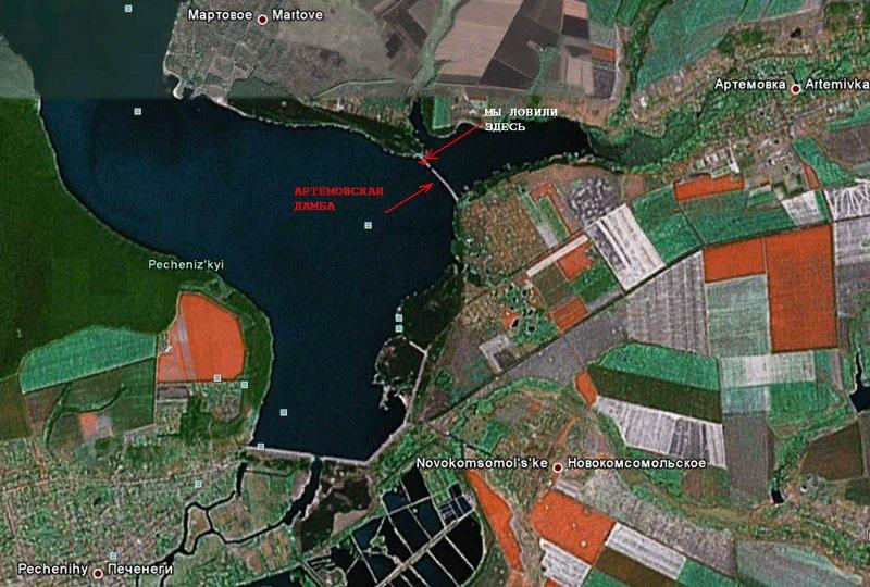 Карта местности с указанием Артёмовской дамбы на Печенежском водохранилище.